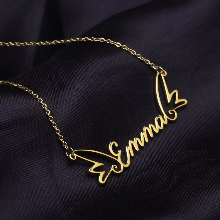 My Angel Wings Custom Name Necklace Beautiful Customized My Nameplate Necklace