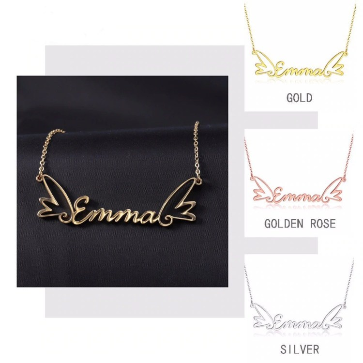 My Name And Two Angel Wings Beautiful Name Necklace Cursive Font Stylish Casual Wear Jewelry Women's Name Necklaces