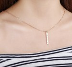 Name Engraved Vertical Nameplate Bar Necklace Shine Pendant Necklace Beautiful Casual Wear Jewelry For Women Gold Silver Rose Gold