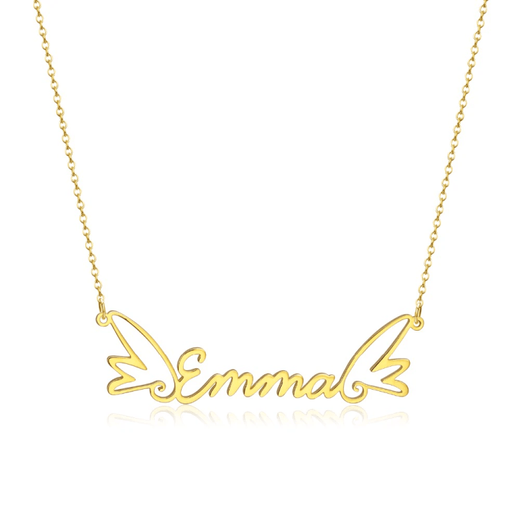 Personalized Angel Wings Custom Name Necklace My Beautiful Name Necklace Women's Name Necklace Blessing Custom Name Necklace