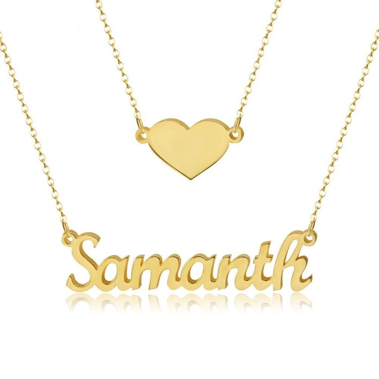 Personalized Custom Heart Name Necklace Love Name Necklace Beautiful Double Layer Name Necklace Ladies Jewelry Wear