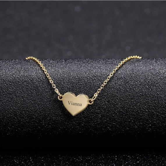 Personalized My Name Printed Heart Shaped Pendant Necklace Name Engraved My Name Necklace For Celebrate Love
