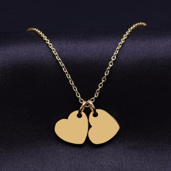 Twin Heart Name Engraved Necklace My Beautiful Heart Custom Name Necklace Women's Name Necklace Gold Heart Pendant Necklace