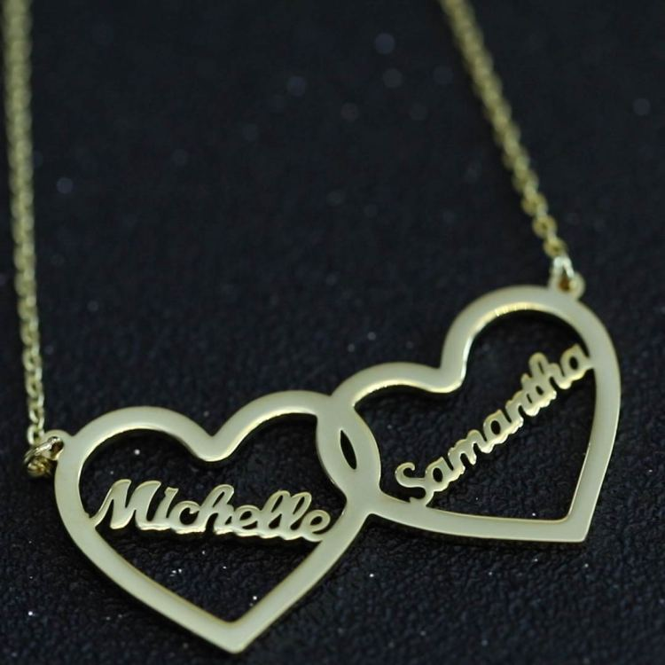 valentine heart custom personalized name necklace for couple women gift wedding anniversary