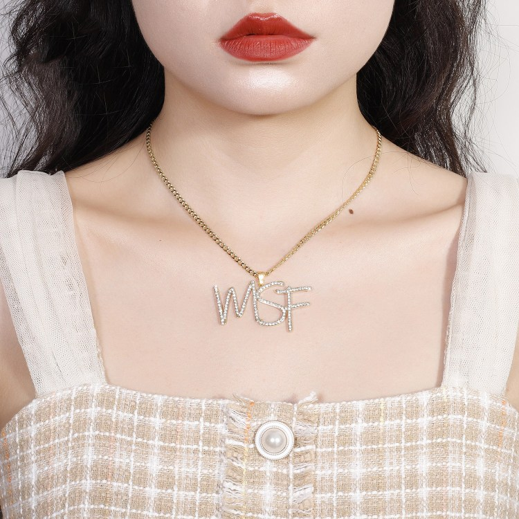 sparkling custom made initials crystal iced out cursive name necklace
