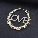 Bamboo Circle Personalized Name Large Name Earrings