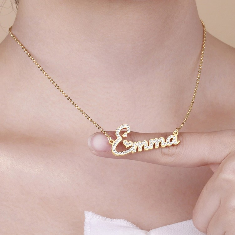 cute hearts font simple minimalist bling crystal name necklace