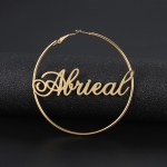 Personalized Hoop Earrings for Women Circle Cursive Name