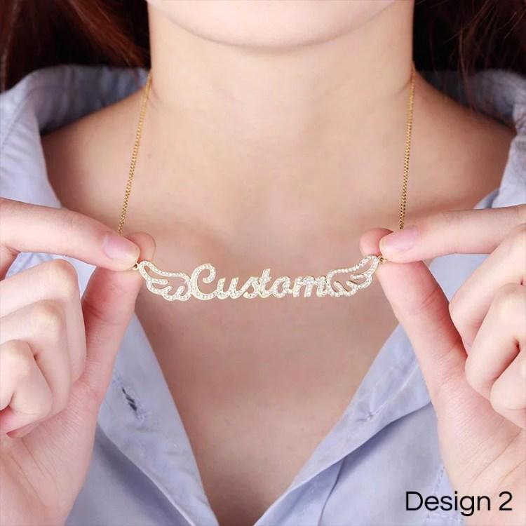 custom angel wings name necklace for women lovely gift