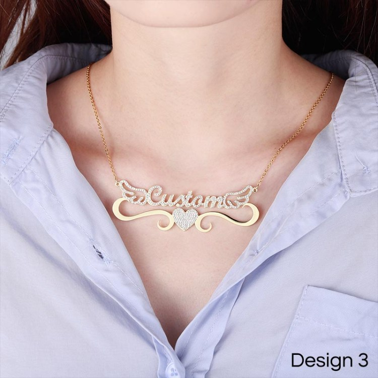 iced out crystal heart angel wings custom name necklace for women