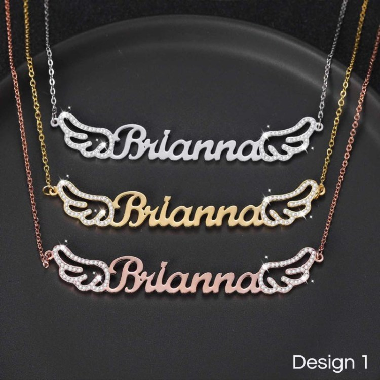 personalized custom angel wings name pendant in gold silver rose gold colors