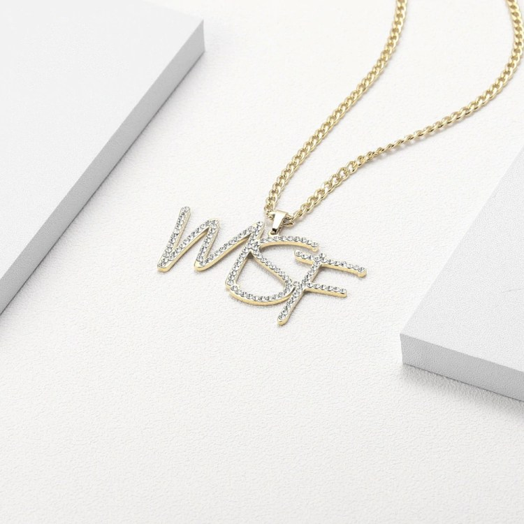 hip hop custom crystal initials diamond iced out name necklace personalized gold color