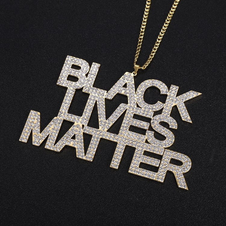 black lives matter movement custom text personalized name chain