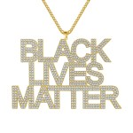 personalized gold plated stainless steel black lives matter custom text logo tagline dj nameplate with cuban chain customized personalized