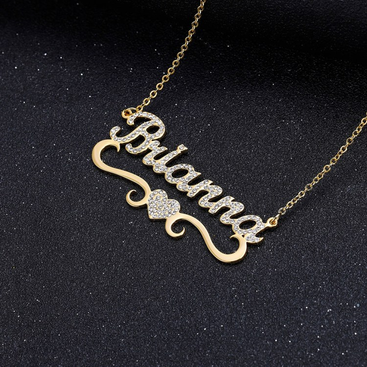 Personalized Iced Out Crystal Name Necklace For Women with Custom Name Sparkling Bling Jewelry