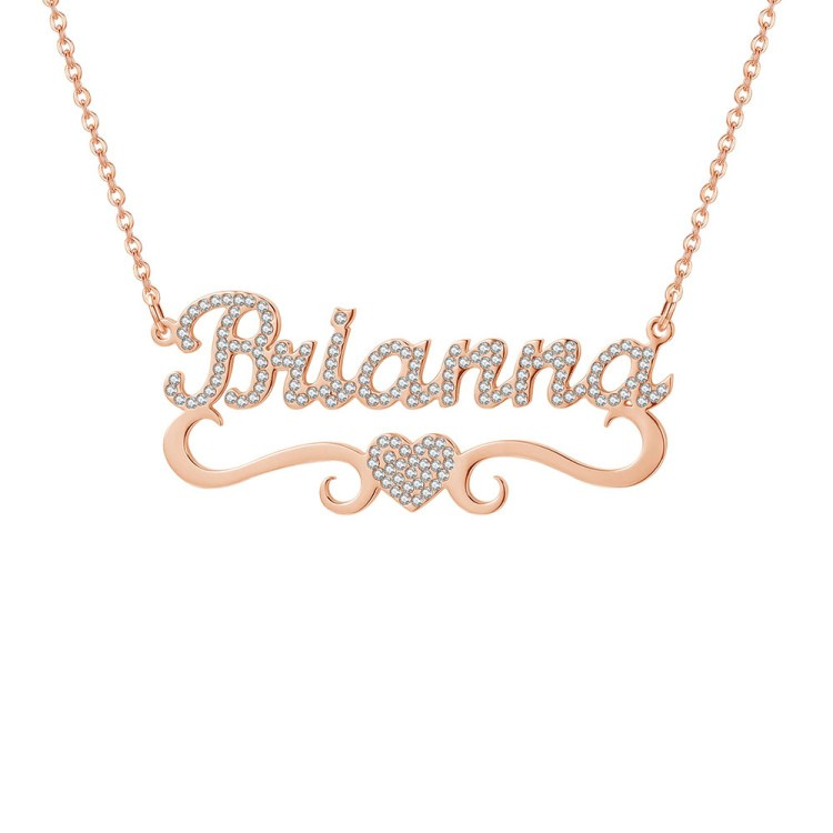 Sparkling Crystal Inlaid Name Necklace for Women Her Personalized Custom Gift Ideas in Rose Gold Color