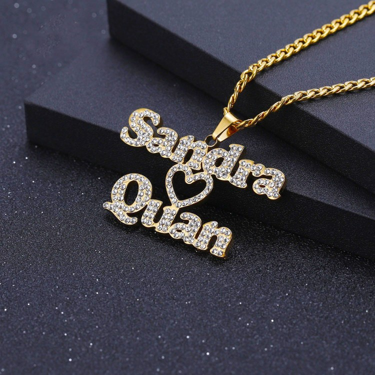 iced out crystal inlaid bling sparkling couple name valentine christmas partner wife husband girl friend boy friend hubby name personalized custom design beceff necklace