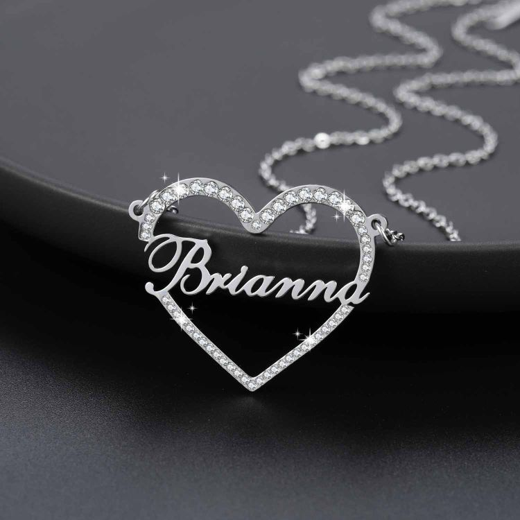 crystal heart name necklace