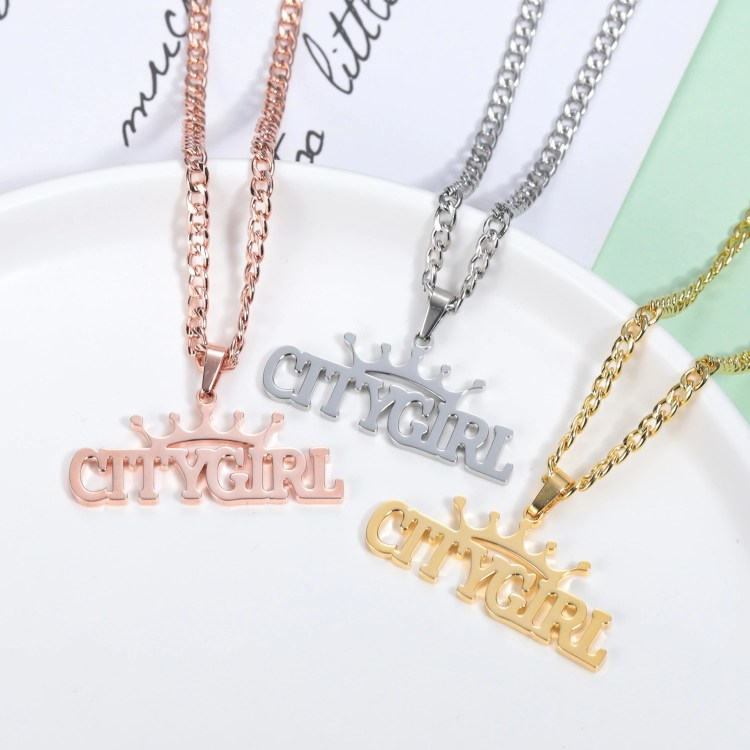 custom crown on top name necklace woman fashion