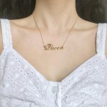model photo of personalized crown name necklace