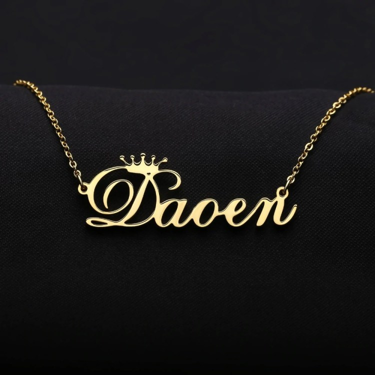 personalized crown name necklace for loved ones
