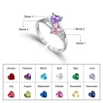 Birthstone name ring engraved couple names anniversary ring valentine day gift for women custom stainless
