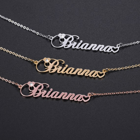 Birthstone personalized name necklace customized christmas gifts link chain