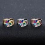 Custom heart birthstone ring for women custom letter engraved name ring engraving rings stainless steel beautiful Family love six stones