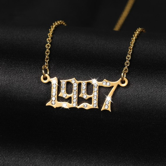 Customized gold chain year digital pendant necklace for men and- women jewelry memorial gifts