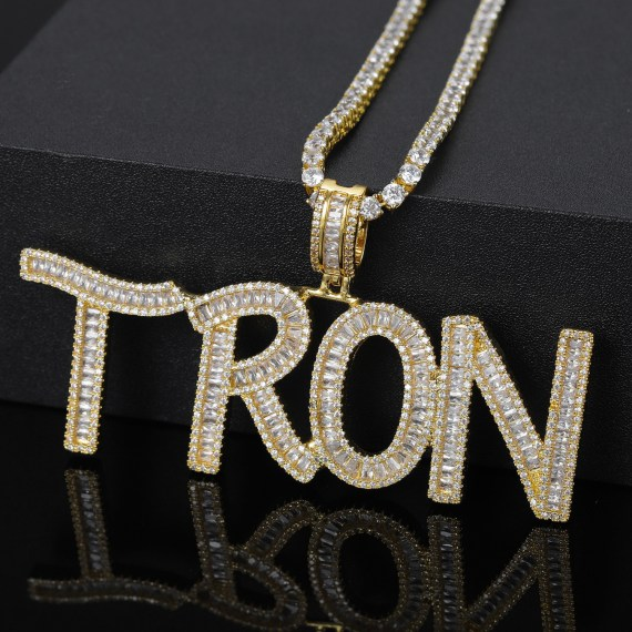 Customized name baguette letters hip hop iced out pendant with tennis chain gold silver bling zirconia
