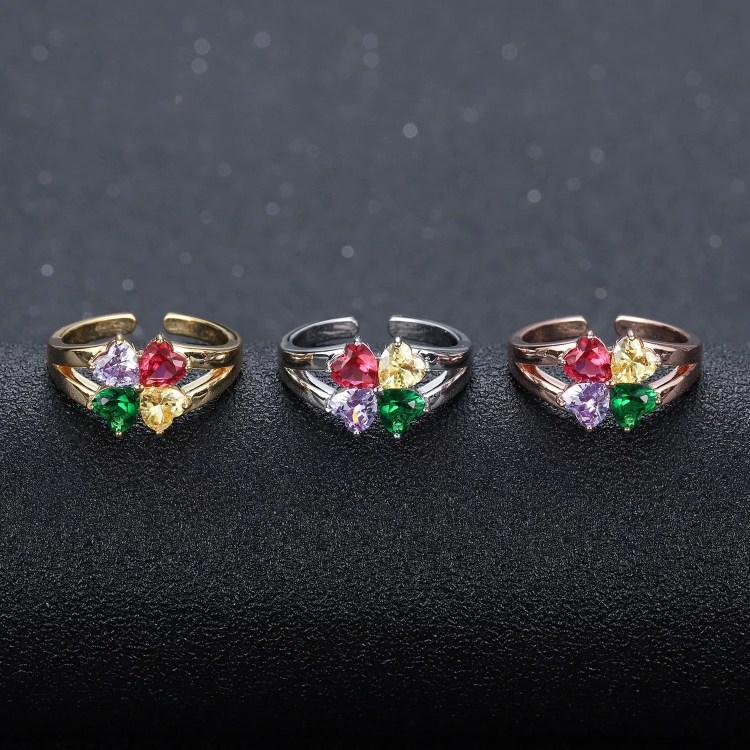 Four birthstone name promise ring engraved 4 names gift for family love