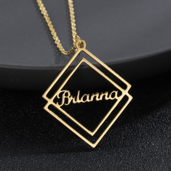 Gold customized rhombus name necklace custom name necklace high quality stainless steel gold plated necklaces jewelry gifts women