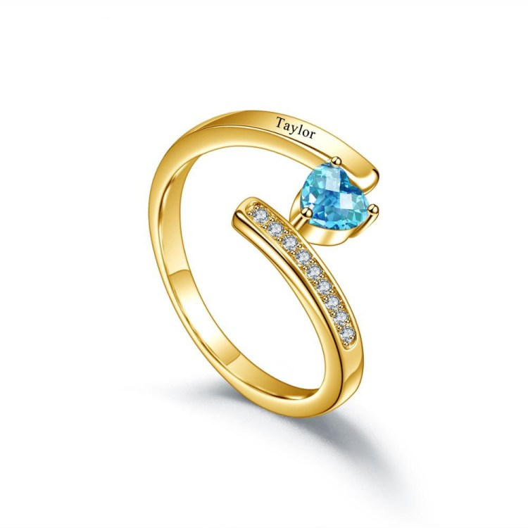 Gold engraved heart shaped birthstone sparkling ring jewelry
