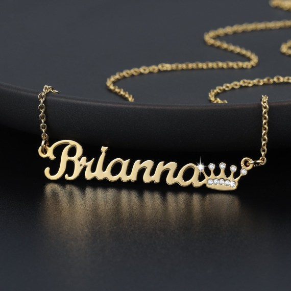 Gold name necklace with crown pendant jewelry