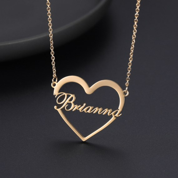 Gold necklace with heart personalized name gift for loved ones