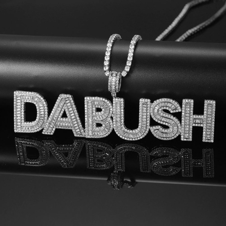 High Quality Iced Out Silver Color Stainless Steel Sparkling Bling Tennis Name Necklace For Men And Women Beceff Personalized Custom Jewelry