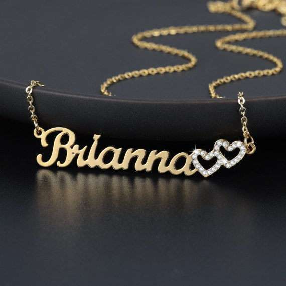 Name necklace two heart amour coeur collier gift