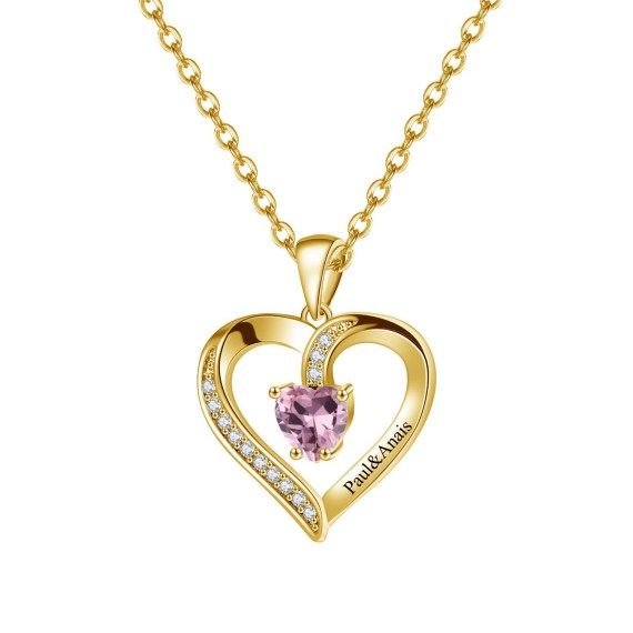 Personalized Gold custom sparkling heart engraved birthstone necklace pendants