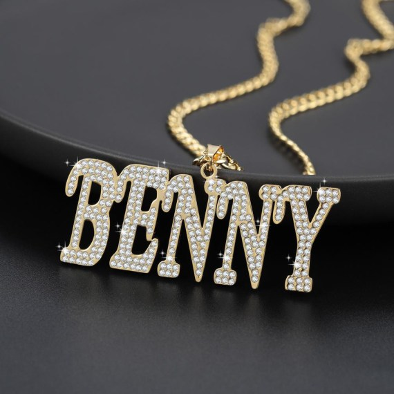 Personalized custom name italic letters cuban chain necklace pendant hip hop high stainless steel bling jewelry