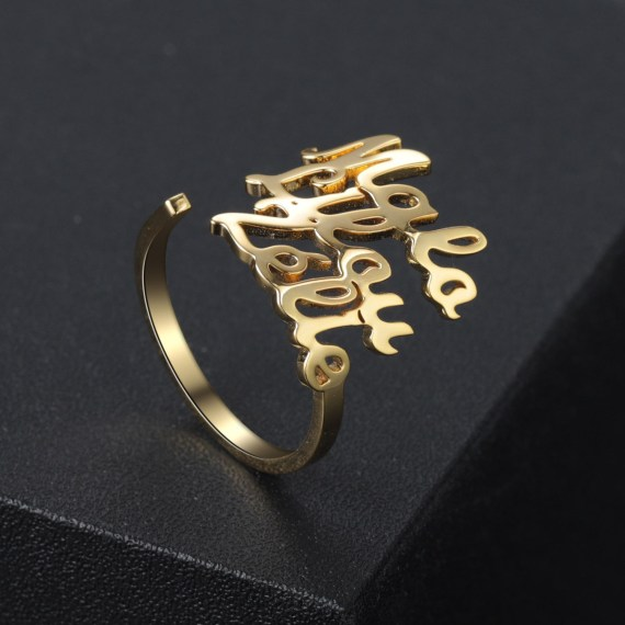 Personalized ring three names with simple fashion design for girlfriend wife mom gifts collares statement jewelry