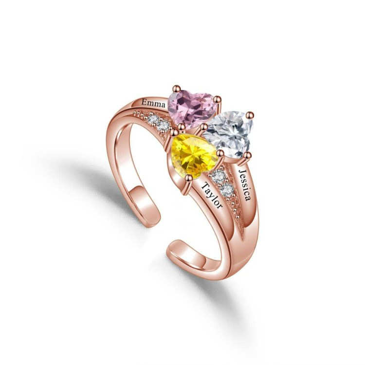 Rose gold engraved name ring with heart birthstones crystal birthstones customized ring