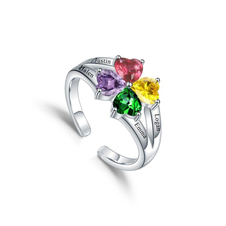 Sterling silver birthstone custom name ring best gift for her with kids children name on ring with colorful birth stones
