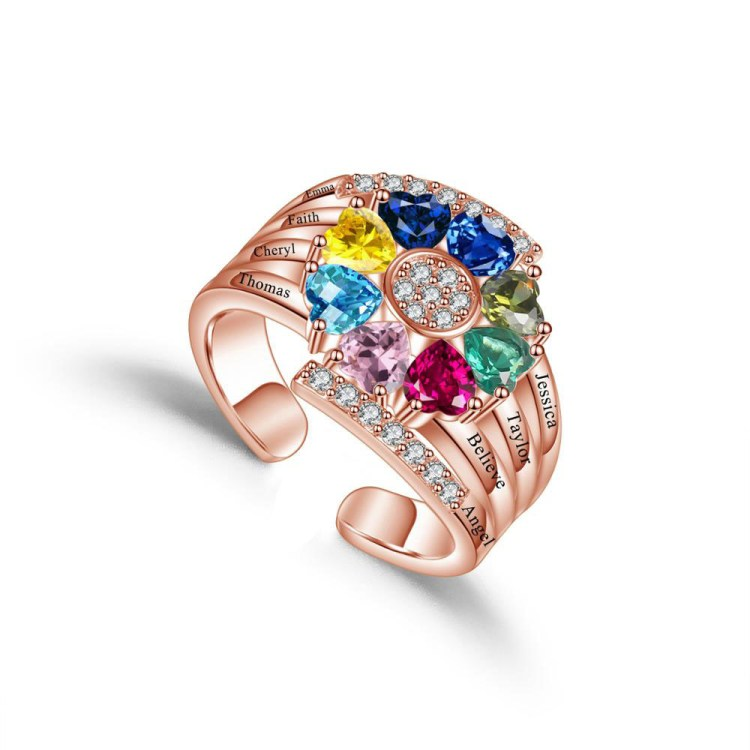 beautiful custom printed engraved 8 eight birthstone names rose gold ring for mother daugther grandma for birthday or any special occations