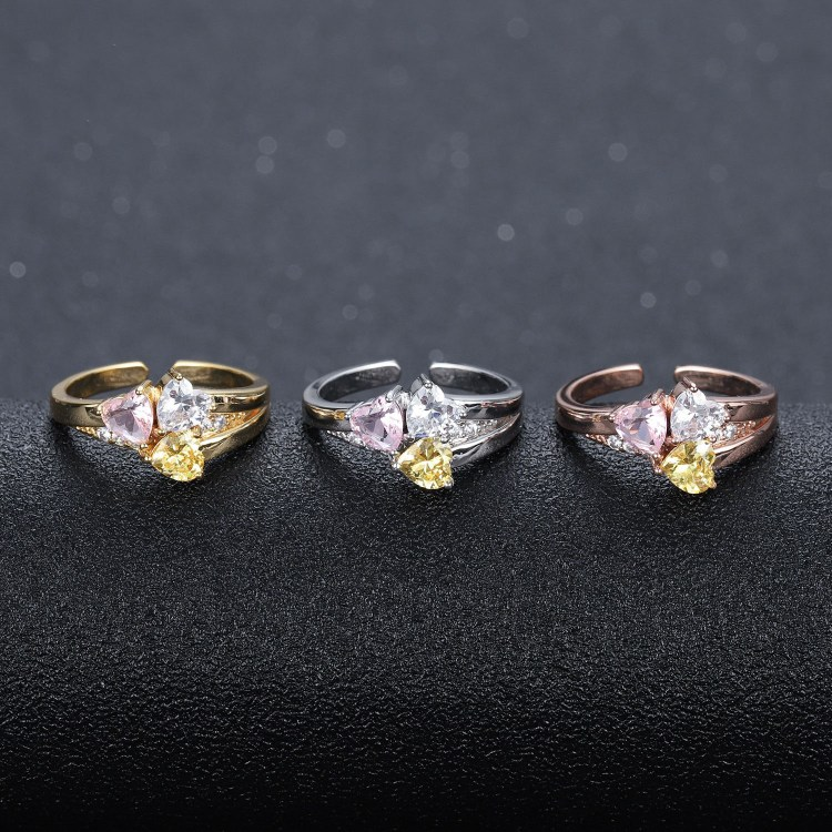 family love three heart ring birthstones engraved ring for women sister daughter