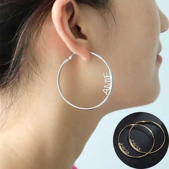 Brief fashion large name hoop earings personalized name letter earings for women custom name cricle earrings