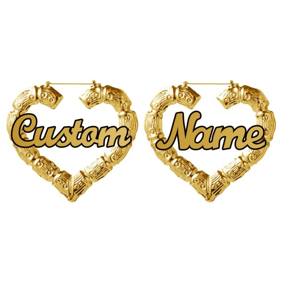 Custom bamboo hoop earrings stainless steel custom name earrings heart shaped round bamboo earrings personality gifts