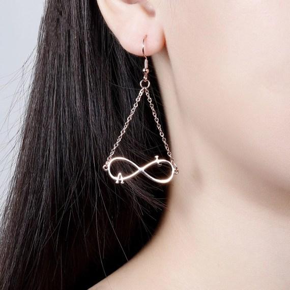 Fashion pendant infinity earrings customize two english letter personalized drop earrings