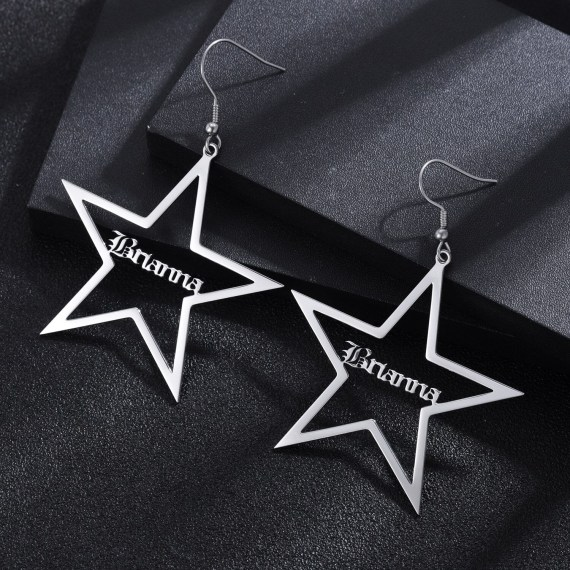 Personalized-Five-pointed-Star-Name-Earrings-in-Stainless-Steel18K-Gold-Plate-Custom-Name-Jewelry-Nameplated-Earrings