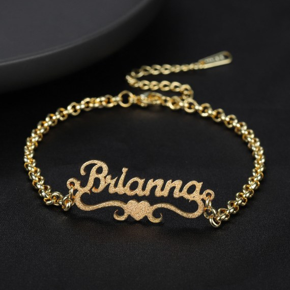Personalized custom heart name bracelet charms high quality stainless steel bracelet frosted and gilded jewelry for women