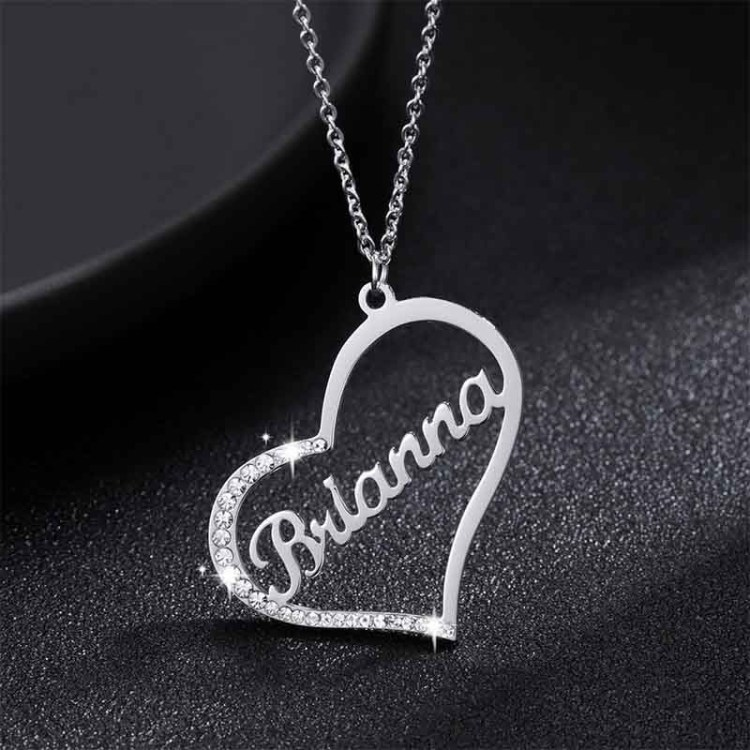 Sterling silver heart iced out sparkling name necklace for women personalized necklace